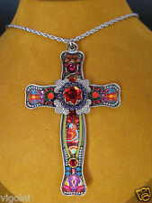 AYALA  BAR NECKLACE PENDANT CROSS SWAROVSKI CRYSTALS BEADS GIFT FLOWER DESIGNER