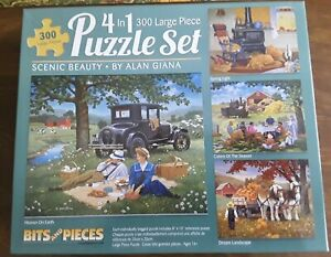 4 in 1  SIMPLIER TIMES Jigsaw Puzzles 300 Large Piece Bits & Pieces John Sloane