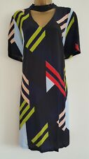 NEW Ex DP 10-18 Colour Block Blue Black Red Yellow Printed Crepe Shift Dress
