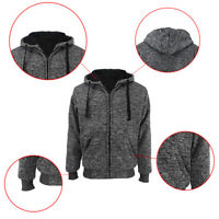 Mens Athletic Marled Ultra Soft Sherpa Lined Fleece Zip Up Sweater Jacket Hoodie