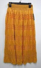 Lapis Womens Size Large Gold Crochet Lined Long A-Line Skirt New