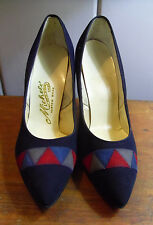 Women's Vintage Michele Custom 5th Ave Navy Suede Heels, Mint Never Worn, Size 7