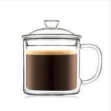 400ML Clear Handmade Borosilicate Double Glass Cup Mug Tea Coffee Cup with lid