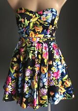 Party Time! MIKA & GALA Floral Multi Colour Strapless Bustier Mini Dress Size 8