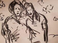JOSE TRUJILLO Artist ORIGINAL CHARCOAL DRAWING MODERN COLLECTIBLE SISTERS ART