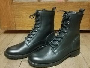 New Frye Natalie womens combat lace up moto Sz 7 black boots N569