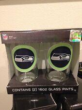 Seattle Seahawks Pint Glass Set of 2 [NEW] NFL Drink Bar Cup Mug 16oz