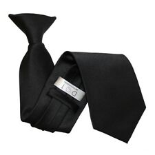 DQT Satin Plain Solid Black Waiter Security Funeral Clip On Tie