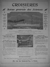 PUBLICITÉ PRESSE 1906 PAQUEBOT-YACHT ILE DE FRANCE CROISIÈRES FOND D'UNE CABINE