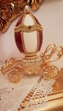 Imeperial Russian Faberge egg Jeweled trinket box Musical Carriag 24k Gold Hmade