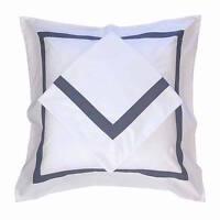 European Pillow Case Set AVA COLLECTION White/Navy Blue Trim Euro Pillowcases