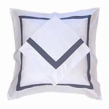 European Pillow Cases Shams AVA COLLECTION White/ Blue Trim Euro Pillowcases