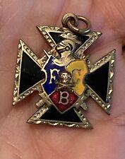 FBC Knight Skull Cross Bones Cross  Knights of Pythias Enamel Charm/Pendant
