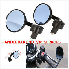 """2pcs Black Universal Motorcycle Round 7/8"""" Handle Bar End Rearview Side Mirrors"""