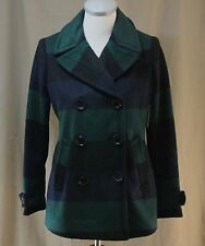 St. John's Bay, PS, Green/ Navy Plaid Double Breasted Pea Coat, New with Tags