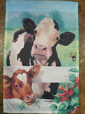 Cow & Calf peek through White Fence Farm Animal Cattle decorative HOUSE flag