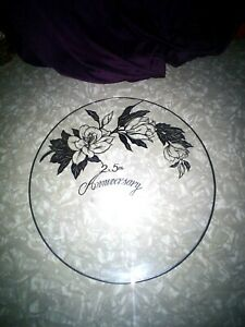 STERLING SILVER 25TH WEDDING ANNIVERSARY CRYSTAL PLATE