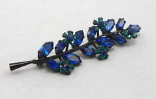 Vintage AUSTRIA Black Finish Blue & Turquoise Green RHINESTONE Floral Brooch Pin