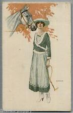 BIANCHI Donnina elegante con cavallo Horse Lady PC Viaggiata 1918 Posta Militare
