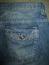 GUESS Foxy Flare Flap Pkt Crystals Stretch Med Blue Denim Jean Womens Sz 26 x 32