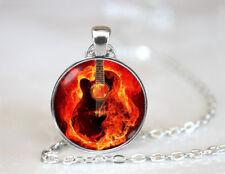 Guitar Necklace Musical Tibetan silver Dome Glass Art Chain Pendant Necklace