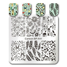 BORN PRETTY Square Nail Art Stamping Plate Simple Hand Drawing Cute Animal Image