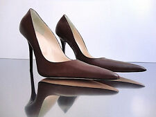 CQ COUTURE ITALY HEELS POINTY PUMPS SCHUHE DECOLTE REAL LEATHER BROWN MARRONE 41