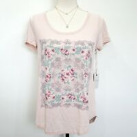 Lucky Brand Women's Rose Short Sleeves Scoop Neck Floral Print Tee Size L NWT