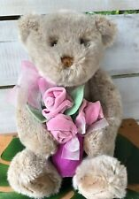 "Gund plush Bear 12"" sitting with pink roses in vase w/back pocket for small item"