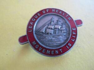 League of Health Movement Sailing Ship Enamel Badge Maker Amor Sydney