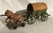 1930s Germany Horse Team Wagon Set Elastolin Lineol Prewar