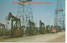 Huntington Beach CA Oil Pumps on Highway 101 Postcard 1957