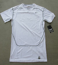 NIKE PRO COMBAT DRI-FIT COMPRESSION WHITE SHORT SLEEVE SHIRT ADULT SIZE SMALL