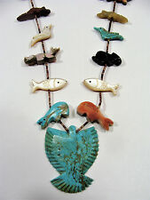 "Zuni FETISH NECKLACE Turquoise Jasper Shell - Birds Fish Turtles Bear & more 32"""
