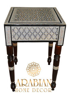 """14"""" Square Egyptian Mother of Pearl Inlaid Side Table, Moroccan Mosaic Table"""