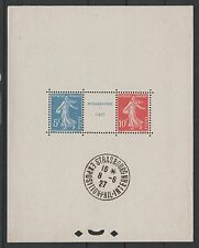 """FRANCE BLOC FEUILLET 2 a """" STRASBOURG 1927 """" NEUF xx AVEC CACHET EXPO. TTB N168A"""
