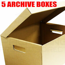 """5 x A4 Filing Archive Cardboard Storage Boxes 15x12x9"""""""