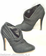 Liliana Black suede asymmetrical Booties Ankle Boots heels sexy shoes heel 6 M