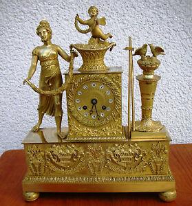 Superb French Gilt Bronze Clock 1820 Goddess of Harvest Cupido Flowers Empire
