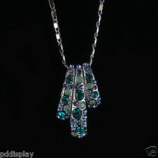 14k white Gold GF with Swarovski crystals brilliant blue pendant necklace