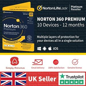 Norton 360 Premium 2021 | 10 Devices | 1 Year + Secure VPN *5 Min Email Delivery