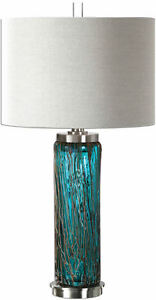 Almanzora Blue Glass Modern Table Lamp by Uttermost #27087-1