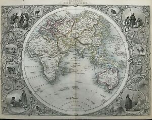 1851 Antique Map; Eastern Hemisphere - John Tallis / Rapkin