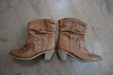 Fat Face tan cowboy western ankle boots size 5 EU 38