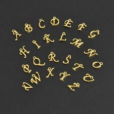 200 pcs Golden Plated Alloy Alphabet Beads Charms for Jewelry Making
