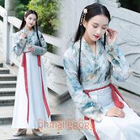 Women's Dress Tops Skirt Suit Hanfu Clothing Ancient Costume Flower Dress Dance