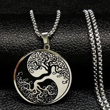 Edelstahl Kette Yin und Yang Baum Lebensbaum Kreis Anhänger Life Tree neckace