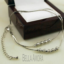 """925 Silver Plated Stardust Bead Ball Ankle Chain Anklet Length 8"""" to 11""""   -53"""