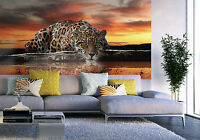 Huge Wallpaper mural for bedroom Leopard wild cat animal Giant photo wall