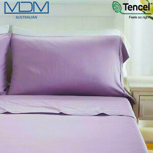 Tencel Ultra Soft Bed Sheets Lyocell Breathable Cooling Double Bed Set Purple